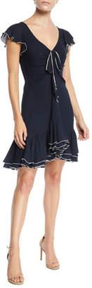 Cinq à Sept Mateo Silk Short-Sleeve Flounce Dress