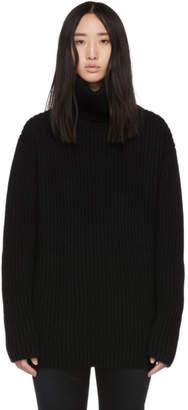 Junya Watanabe Black Wool Oversized Turtleneck