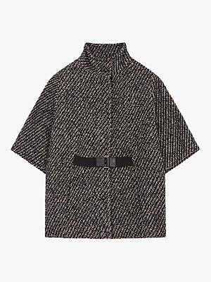 Gerard Darel Marsha Stripe Buckle Coat, Black