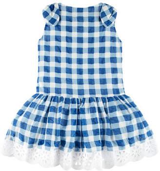 Carrera Pili Gingham Dress w/ Flower Hem, Blue, Size 4-10