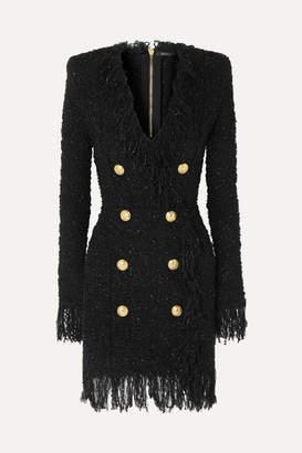Balmain Button-embellished Fringed Metallic Tweed Mini Dress - Black