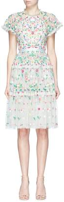 Needle & Thread 'Lazy Daisy' ruffle floral embroidered tulle dress