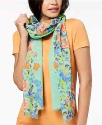 Echo Floral Trellis Cotton Scarf
