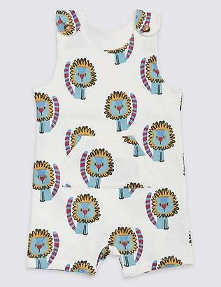 Marks and Spencer Pure Cotton All Over Lion Print Dungarees