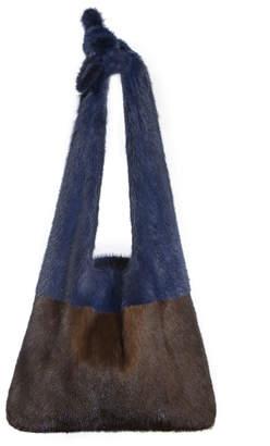 Simonetta Ravizza Furrissima Colorblock Mink Fur Sac Tote Bag, Brown/Blue