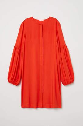 H&M Balloon-sleeved Dress - Black - Women