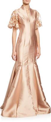 Badgley Mischka V-Neck Lace-Sleeve Mermaid Gown