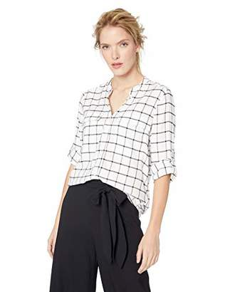 Calvin Klein Women's Windowpane Roll Sleeve Blouse