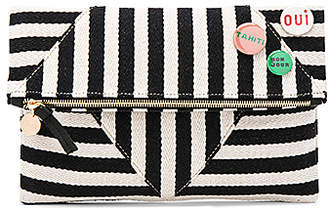 Clare V. Patchwork V Foldover Clutch With Pins in Black & White. $265 thestylecure.com