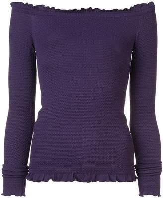 Altuzarra frill trim off the shoulder sweater