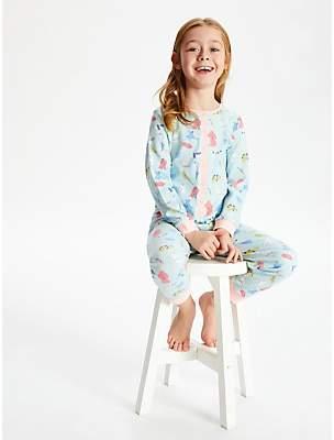 John Lewis & Partners Girls' Pets Jersey Onesie, Blue