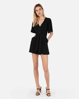 Express Button Front Tie Romper