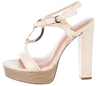 Halston Suede Ankle Strap Sandals