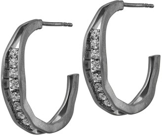 Italian Silver Crystal Wave Hoop Earrings