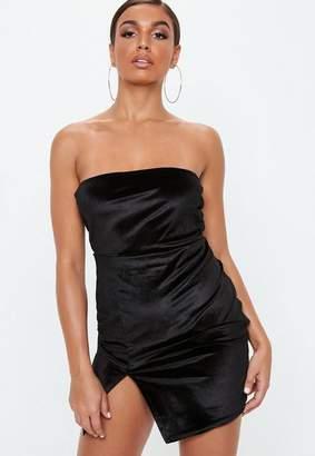 Missguided Petite Black Strapless Velvet Mini Dress