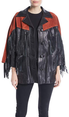 Gucci Grainy Leather Jacket with Suede Fringe & Studded Guccy on Back
