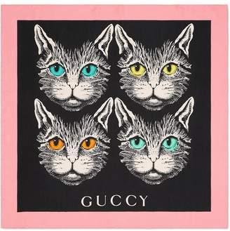 Gucci black Mystic Cat print silk scarf