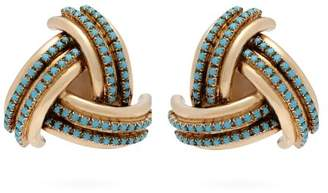 Etro Crystal Embellished Gold Tone Clip On Earrings - Womens - Blue