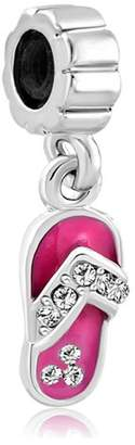 Pandora Charmed Craft Rose Pink Beach Sandal Dangle Charms Clear Crystal Jewelry Sale Cheap Beads Fit Bracelets