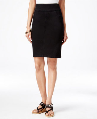 Style & Co. Pull-On Knit Denim Pencil Skirt, Only at Macy's $49 thestylecure.com