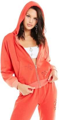 Wildfox Couture Destroyed Regan Zip Hoodie | Pigment Poppy Red