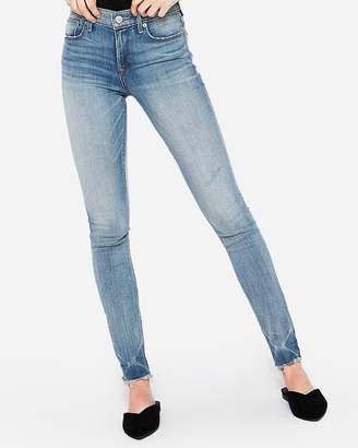 Express Mid Rise Raw Hem Stretch Super Skinny Jeans