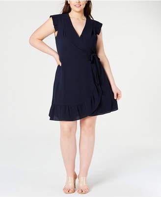 Monteau Juniors' Trendy Plus Size Faux-Wrap Dress