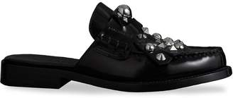 Burberry Studded Fringe Patent Leather Mules