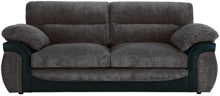 Lyla Fabric And Faux Leather 3 Seater Sofa