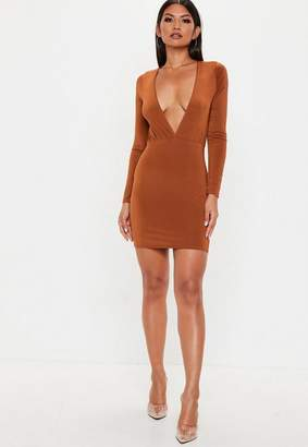 Missguided Orange Plunge Gathered Mini Dress