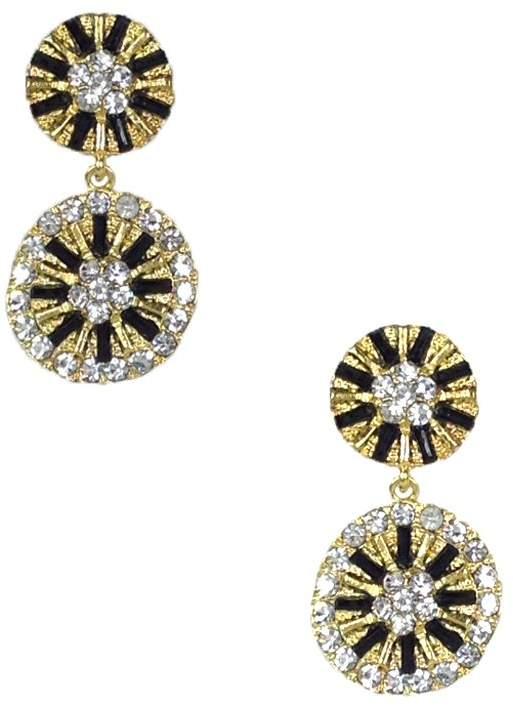 Amrita Singh Lycnorinda Double Disk Drop Earrings, Golden/Black