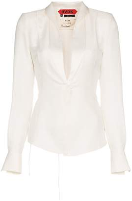 Ronald Van Der Kemp tuxedo effect silk blouse