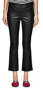 Lisa Perry Women's Leather Crop Flared Pants - Black