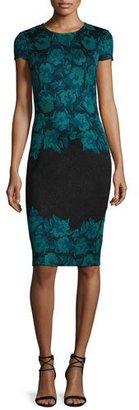 St. John Collection Aegean Floral Jacquard Knit Sheath Dress, Caviar/Seafoam $1,295 thestylecure.com
