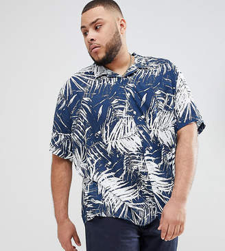 Jacamo Short Sleeve Revere Collar Shirt In Palm Print
