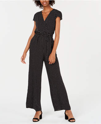 Be Bop Juniors' Wide-Leg Polka-Dot Jumpsuit