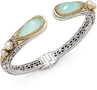 Konstantino Women's Amphitrite 3MM-4MM White Freshwater Pearl, Blue Topaz, 18K Gold & Sterling Silver Bracelet