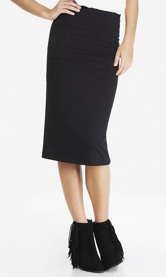 Stretch Knit Midi Pencil Skirt