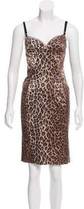 Dolce & Gabbana Leopard Print Satin Dress
