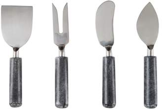 Ulla Marble Set of 4 Cheese Knives, Black