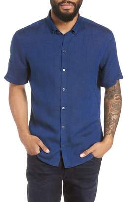 Zachary Prell Shapiro Trim Fit Linen Popover Sport Shirt