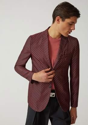 Emporio Armani Single-Breasted Checked Jacquard Jacket