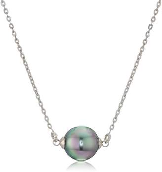 """Majorica 10mm Gray Round Pearl On A Sterling Silver Chain Necklace, 16-18"""""""