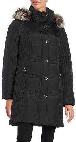 Anne KleinAnne Klein Faux Fur-Trimmed Quilted Jacket