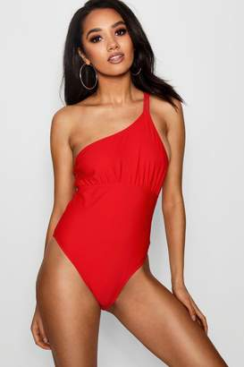boohoo Petite One Shoulder Swimsuit