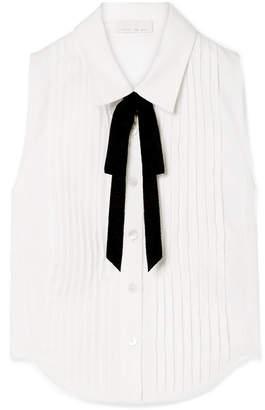 Fleur Du Mal Grosgrain-trimmed Pintucked Cotton-poplin Shirt - White