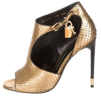Tom Ford Python Peep-Toe Ankle Boots