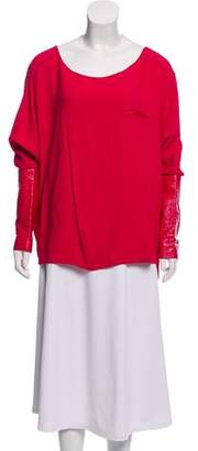 Thakoon Dolman Faux Leather-Accented Blouse