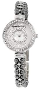 Adrienne Vittadini Collection Women's Silver Analog Quartz Watch with Mother of Pearl Dial and Dark Stone Accent Strap