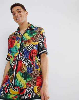 Jaded London Revere Shirt In Tropical Print